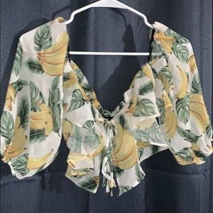Off the shoulder ruffle top bananas leaves